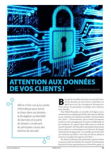 ATTENTION AUX DONNÉES DE VOS CLIENTS ! - Conseiller
