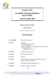 Assemblée Générale Ordinaire de la FAPÉE - Fapee.com