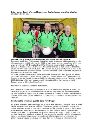 Interview de Cedric Waroux Linesman en Jupiler league ... - Belsport
