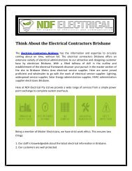 Think About the Electrical Contractors Brisbane