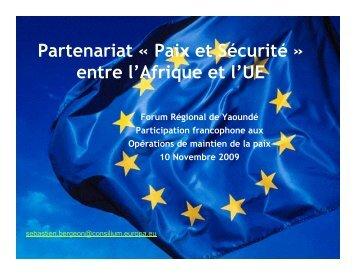 Partenariat « Paix et Sécurité » entre l'Afrique et l'UE