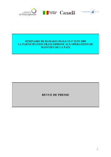REVUE DE PRESSE - ROP