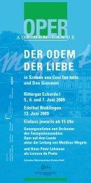 Veranstaltungsflyer - Oper auf dem Lande, Hannover