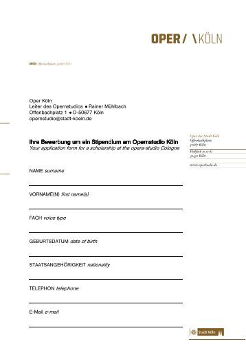 bewerbung pdf oper kln - Bewerbung Muster Pdf