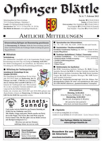 AMTLICHE MITTEILUNGEN - Opfinger Blättle online