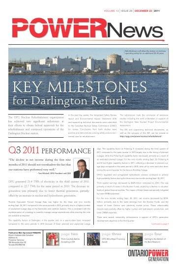 VOLUME 13 ISSUE 20 DECEMBER 22 2011 News - Ontario Power ...
