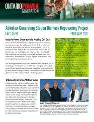 Fact Sheet Feb. 2011 - Ontario Power Generation
