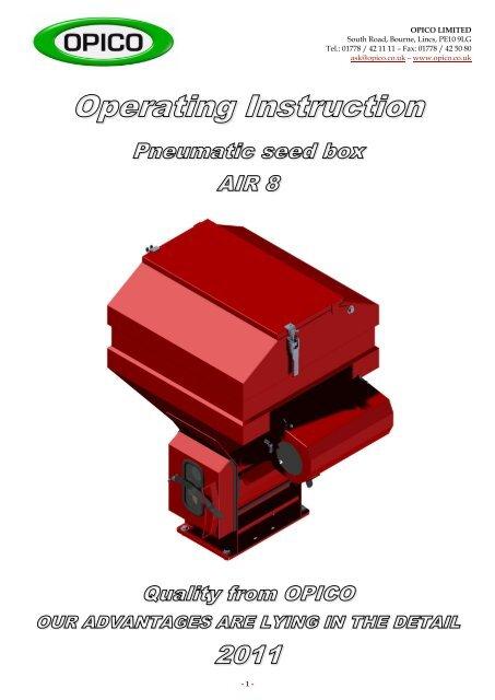 opico-variocast-seeder-8-parts-manual
