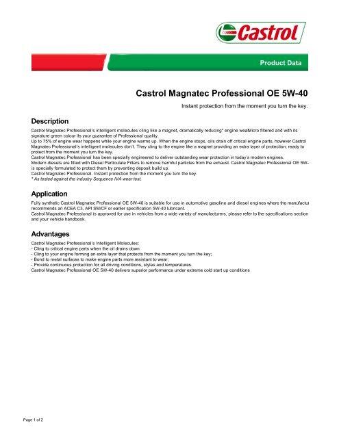 Castrol Magnatec Professional OE 5W-40 - Oil car | Car