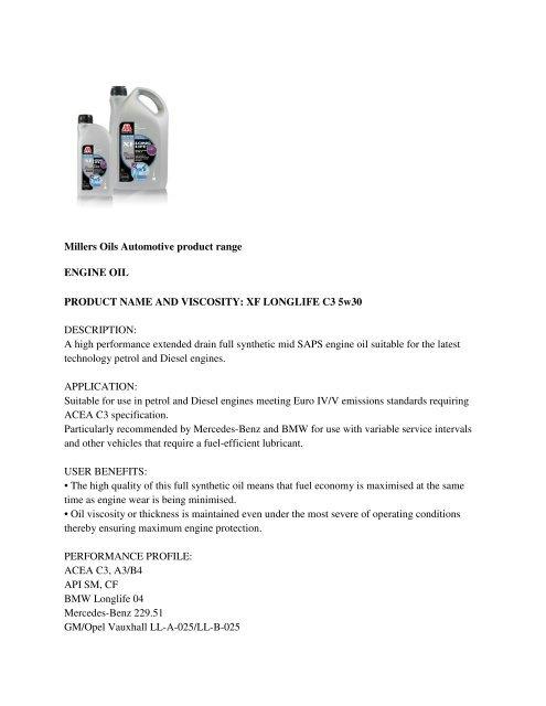 Millers Oils Automotive product range ENGINE OIL     - Opie Oils