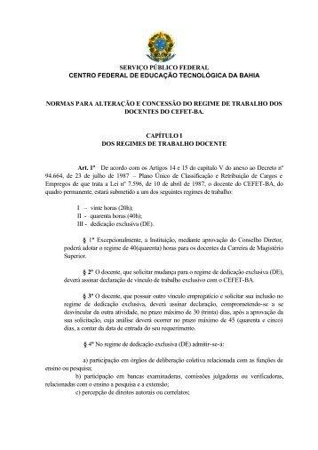 Normas para Alteração e Concessão do Regime de ... - Cefet-BA