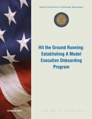 Hit the Ground Running: Establishing A Model Executive - Office of ...