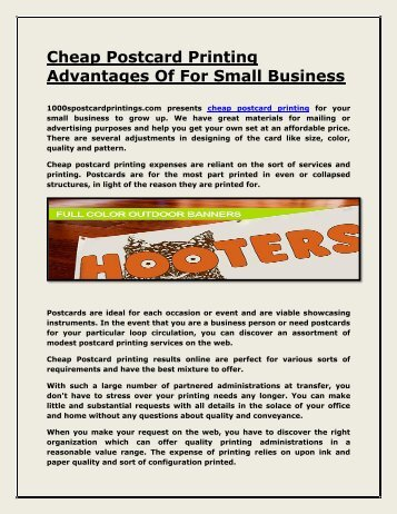 Small business advertising postcards