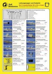 Leitungswagen und Zubehör für C-Laufschiene 30 x 32 x 2 mm