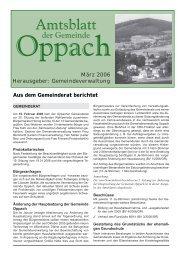 März 2006 Herausgeber: Gemeindeverwaltung Aus dem ... - Oppach