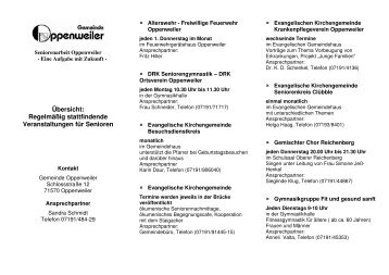 Flyer zur Senior - Gemeinde Oppenweiler