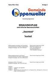 Bebauungsplan - Textteil - Gemeinde Oppenweiler