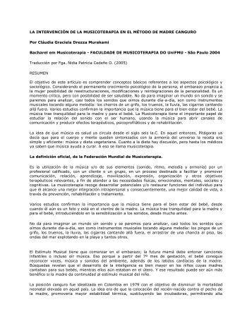 LA INTERVENCIÓN DE LA MUSICOTERAPIA EN EL ... - OPPHLA