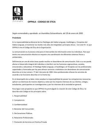 OPPHLA - CODIGO DE ETICA