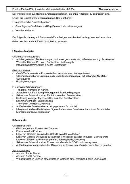 Fundus Fa R Den Pflichtbereich Mathematik Abitur Ab 2004