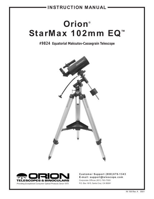 Orion StarMax 102 EQ Manual - Oceanside Photo and Telescope