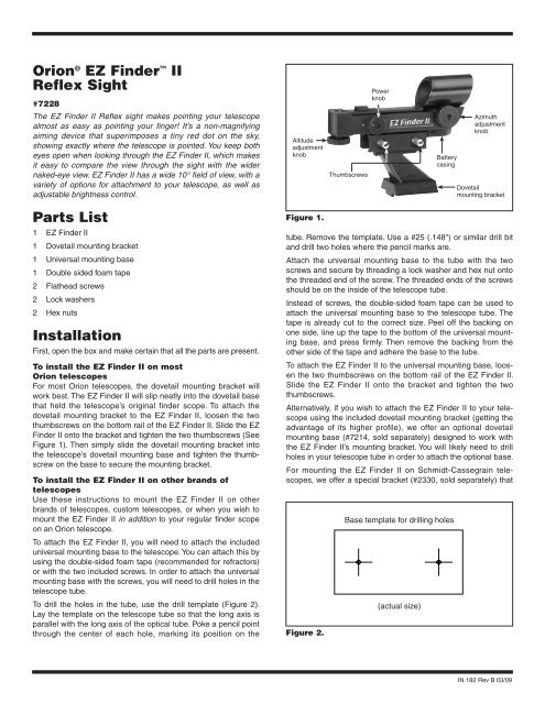 Orion EZ Finder II Reflex Sight Manual