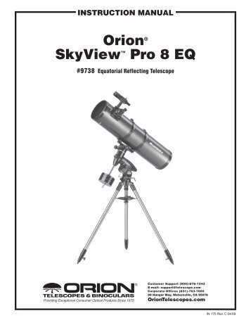 orion® skyView Pro⠢ EQ Mount