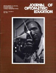 Journal of Optometric Education - Association of Schools and ...
