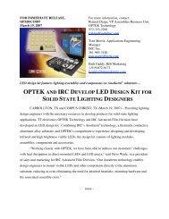 optek and irc develop led design kit for solid state lighting designers