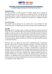Download Global Warranty Policy - OPTI-Solar