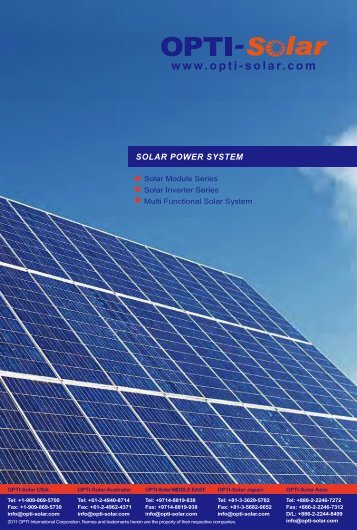 2011 OPTI-Solar Catalogue
