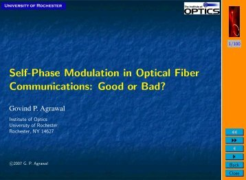 Self-Phase Modulation in Optical Fiber Communications: Good or ...