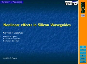 Nonlinear effects in Silicon Waveguides - The Institute of Optics ...