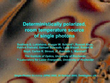 View Talk pdf - The Institute of Optics - University of Rochester