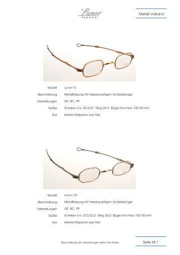 Seite M 1 Metall Vollrand - Optiker Holz