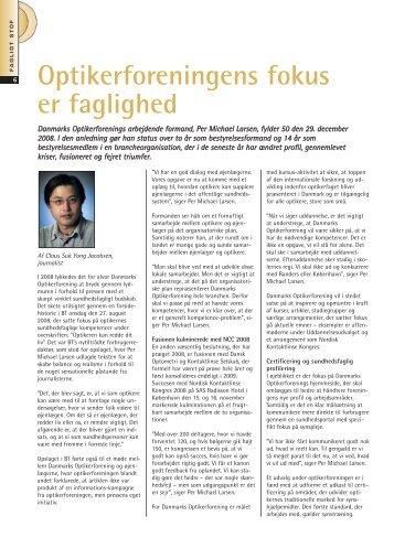 Optikerforeningens fokus er faglighed - Danmarks Optikerforening