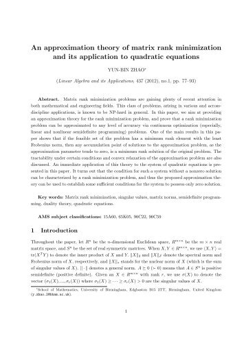An approximation theory of matrix rank minimization and its ...