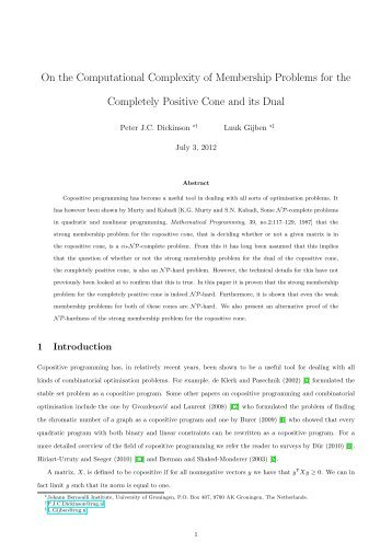 On the Computational Complexity of Membership Problems for the ...