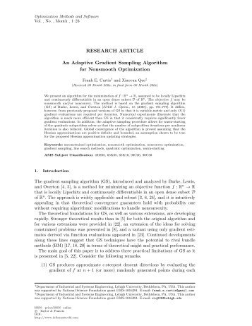 RESEARCH ARTICLE An Adaptive Gradient Sampling Algorithm for ...