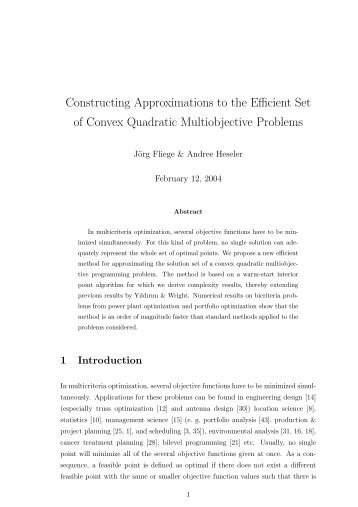 Constructing Approximations to the Efficient Set of Convex Quadratic ...