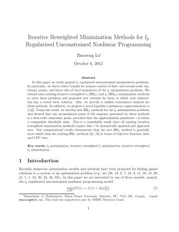 Iterative Reweighted Minimization Methods for lp Regularized ...