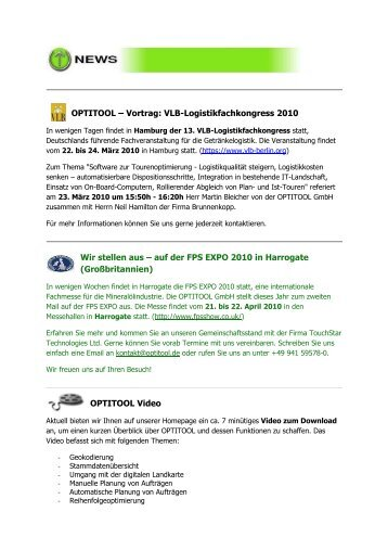 2010 Quartal 1 - Newsletter - Optitool GmbH