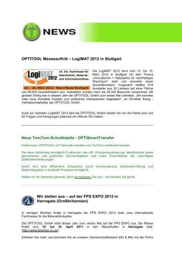 2012 Quartal 1 - Newsletter - Optitool GmbH