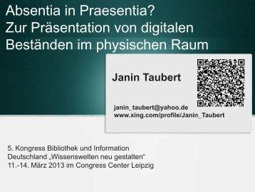 Beispiele aus der bibliothekarischen Praxis Digital ... - OPUS Bayern