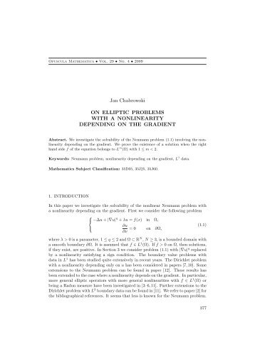 Jan Chabrowski ON ELLIPTIC PROBLEMS WITH A NONLINEARITY ...