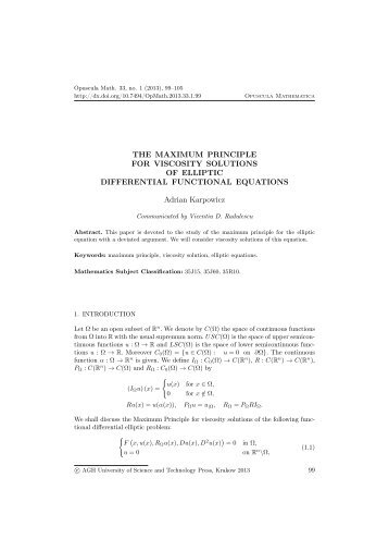 Article - opuscula mathematica - AGH