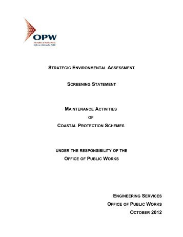 SEA Screening Statement OPW Coastal Protection Maintenance