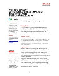 wily technology customer experience manager integration ... - Oracle