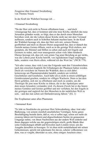 Zeugnisse über Emanuel Swedenborg von Thomas Noack ... - Orah.ch