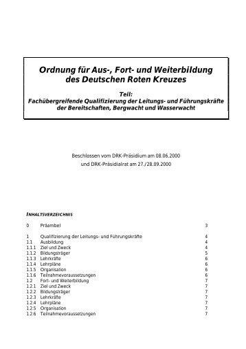 Ordnung für Aus-, Fort - Drk-Kreisverband Göppingen